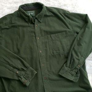 Woolrich mens green cotton button front 2XL